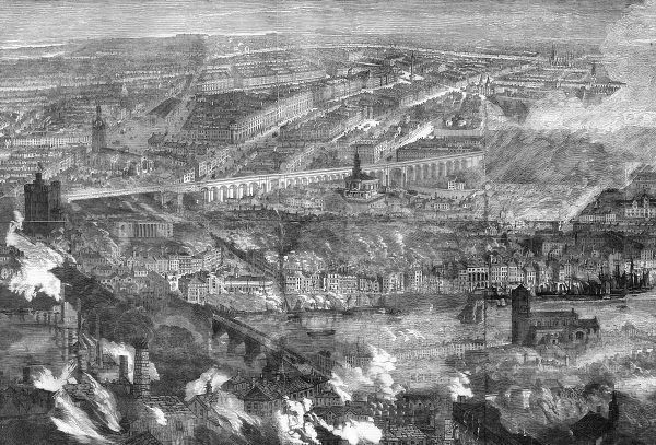 A view over Newcastle (on the far side of the River Tyne) and Gateshead (in the foreground) during the great fire which killed more than 50 people and destroyed many buildings. The fire started on 6 October in a worsted factory on the Gateshead side