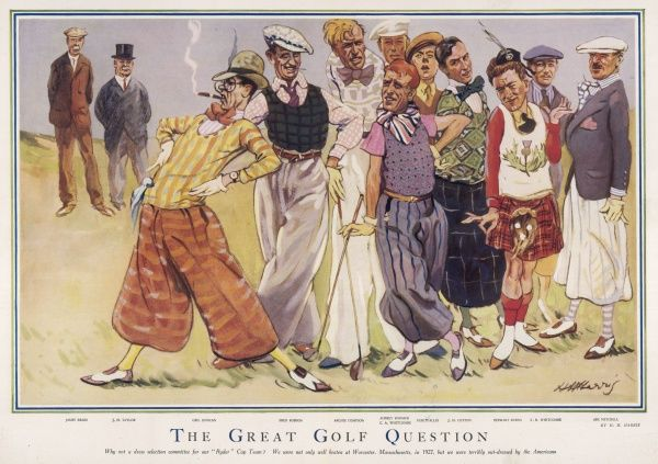 Cartoon lampooning the flamboyant and outlandish golf fashions of the day. Golfers featured include James Braid, J.H. Taylor, George Duncan, Fred Robson, Archie