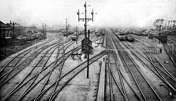 Deserted railway track at Stratford. The station was at a standstill during the great railway strike. The strike took place in the last two weeks of September 1919. After the initial shock of the strike, lorries were brought in to transport goods