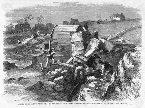 The Great Flood (or Inundation) at Sheffield on 11th March 1864 when the Dale Dyke Dam broke flooding Sheffield. View of workmen searching for tools at Loxley