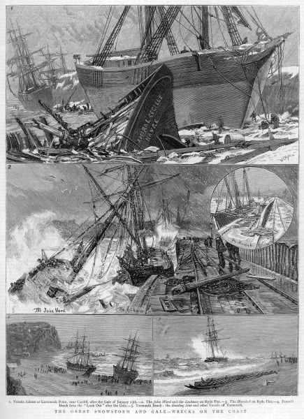 Various ships and vessels including the Lucknow and Havelock on Ryde Pier are battered by the great snow storm & gales of 18th January 1881