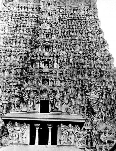 Photograph showing the monumental sculpture of the Hindu Temple at Madura, India, c.1930. This temple was dedicated to Siva (Sundareshwara) and the fish-eyed goddess Minakshi
