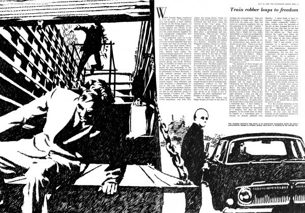 Page from The Illustrated London News, reporting on the latest episode in the Great Train Robbery saga. Ronnie Biggs and other prisoners leaps to freedom over Wandsworth Gaol wall, into a waiting get away vehicule. Date: 1965
