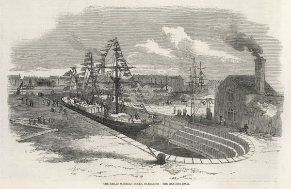 The Great Western Docks at Plymouth, showing the Graving Dock