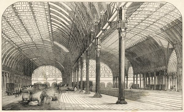 A view of the newly developed Paddington Station in London. It was designed by Isambard Kingdom Brunel as the London terminus for the Great Western Railway