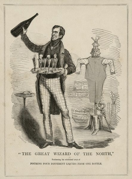 "Undated copy of engraving, ""The Great Wizard of the North Performing his Celebrated Trick of Pouring Four Different Liquids From One Bottle"". HPG/8/2/1 (vi)&quot"