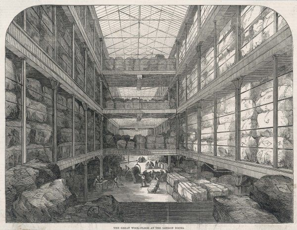 The great wool floor at the London docks