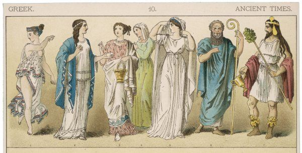 Various Ancient Greek costumes; left to right - one female dancer, four women in everyday costume and two actors