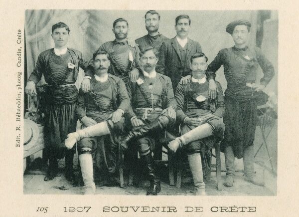 Greece, Crete - Cretan Men - a souvenir card released in 1907 to bolster the Cretan national identity following the withdrawal of control over the Island by the Great Powers