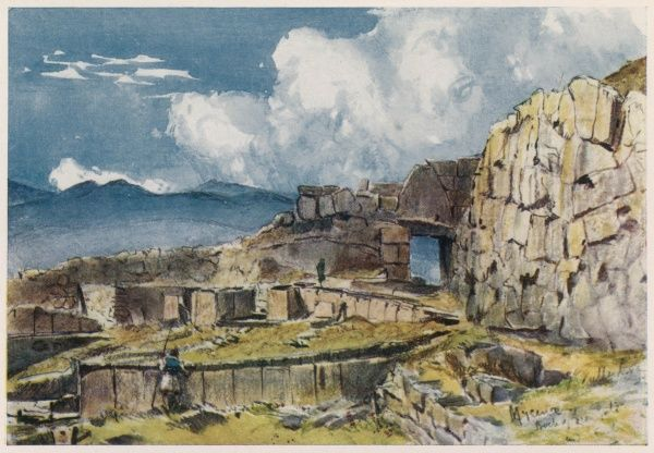 A view of the ruins of the Early greek city state of Mycenae, famed for its shaft grave deposits discovered by Heinrich Schliemann