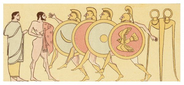 Ancient Greeks race while running in armour and carrying a shield