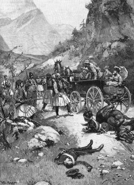 A group of Greek brigands attack Lord Muncaster's coach party near Athens