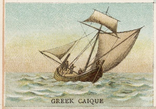 Greek caique, combining a lateen sail with a small square sail set high on the one mast