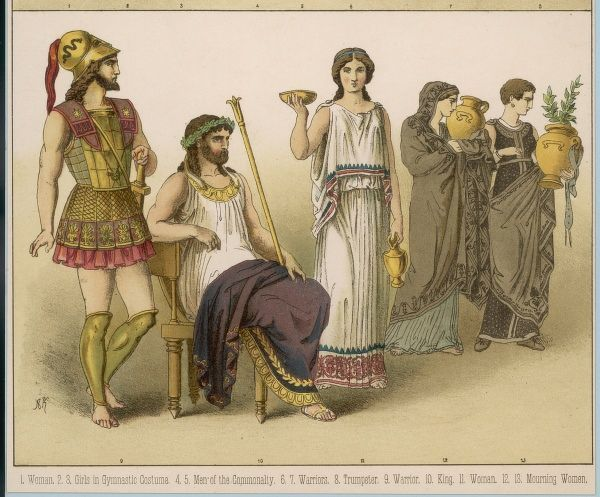 Various Ancient Greek costumes; left to right - a warrior, a King, a woman and two mourning women