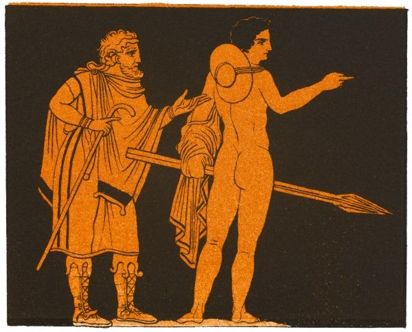 A pedagogue of ancient Greece with his pupil