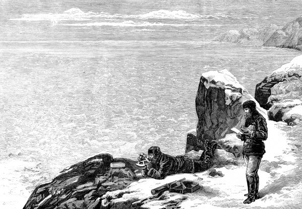 Engraving showing members of the American Meteorological Expedition of 1881-4 taking their position, with a sextant, at the farthest point North they reached