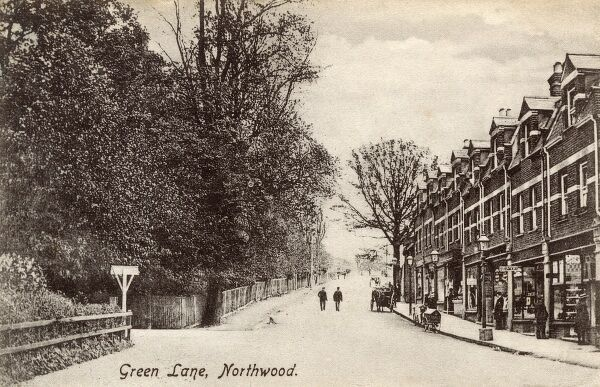 Green Lane, Northwood, London (No. 26-38 approx - the buildings and shops are still there!) Date: 1904