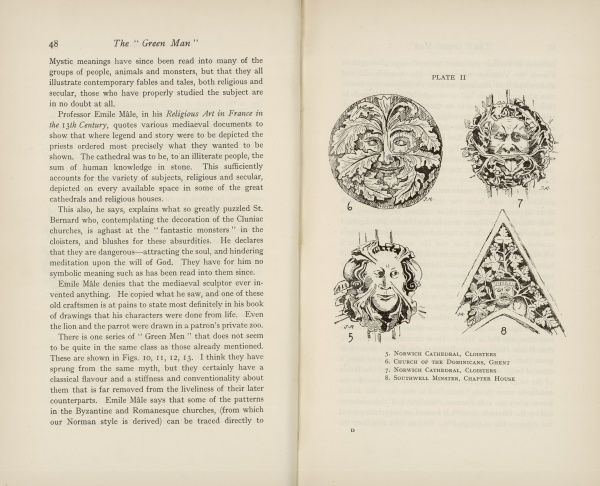 "Double page showing text and Plate II of 'The ""Green Man"" in Church Architecture,' an article by Julia Hamilton Somerset, Lady Raglan, that appeared in Folklore magazine, March 1939 in which she coined the term green man to"