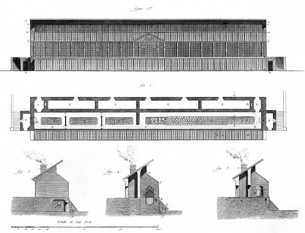 Various sections of greenhouses in 18th century France. Date: Circa 1760