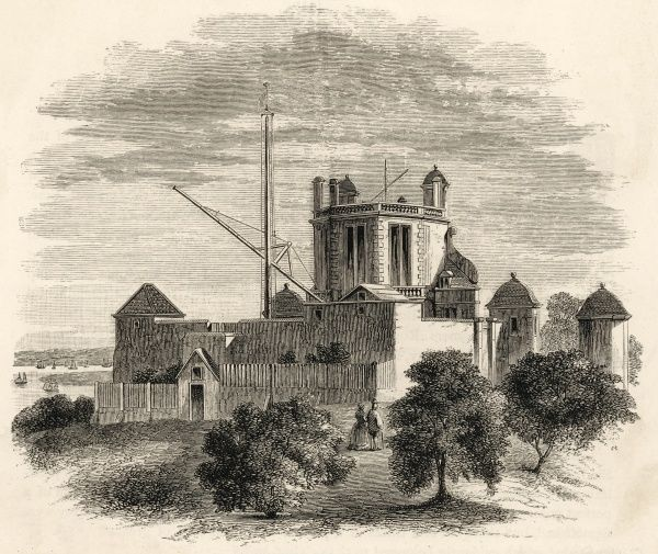 The Royal Observatory in Flamsteed's time, facing east ; the Thames can be glimpsed on the left