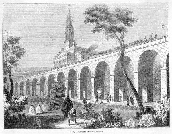 LONDON-GREENWICH LINE Elevated on either arches or embankment throughout most of its length, the line passes St James's church, Bermondsey, as well as gardens