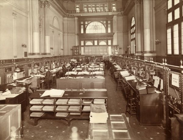 Greenwich Savings, Sixth Ave. & 16th St. (Hall Safe Co.). Main banking room of Greenwich Savings with employees at work. Located at Sixth Avenue and 16th Street