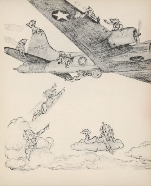 Gremlins tease the crew of an American 'Flying Fortress' bomber