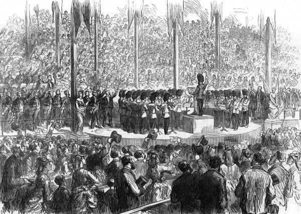 The musical festival at Boston: the band of the grenadier guards playing 'The Star Spangled Banner'. Date: 1872