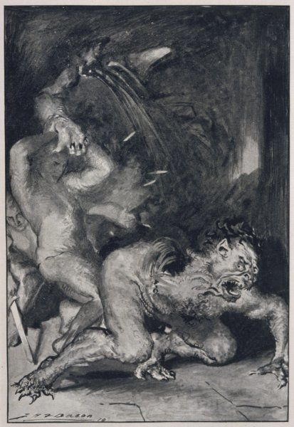 Beowulf, who has the strength of thirty men, rips off the arm of Grendel the monster