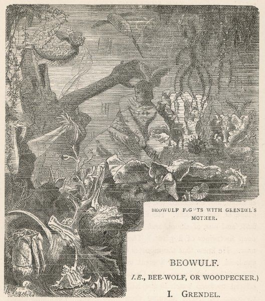 Beowulf has an underwater fight with the mother of the monster Grendel