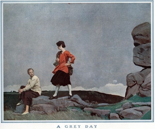 Two adventureurous women on a rocky hillside, resting and relaxing under the tranquil but unimaginative sky Date