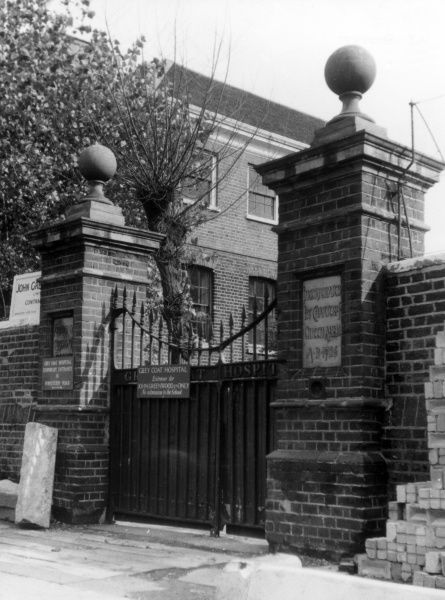 The gateway of Greycoat Hospital School, Westminster, London. This charitable school was founded in 1698, by local shopkeepers, for 50 poor boys. Date: founded in 1698