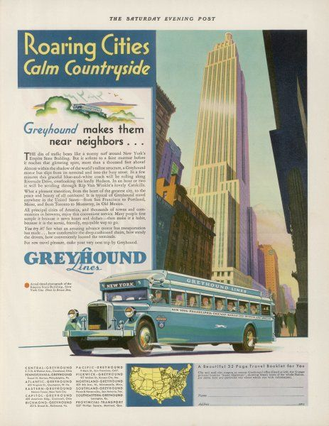 Take the GREYHOUND LINES to New York - or cross the continent to Los Angeles - 'the scenic, friendly, enjoyable way to go...&#39
