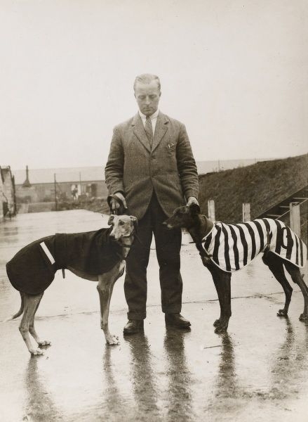 A trainer displays two greyhounds at Wembley. The dogs are wearing winter overcoats for warmth