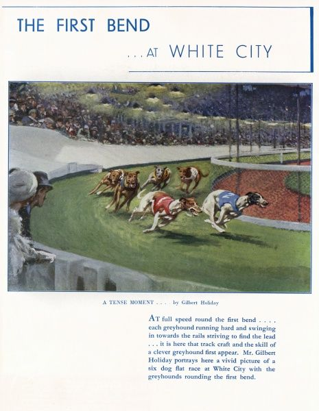 Greyhounds racing round the first bend at the White City greyhound racing track while a packed crowd looks