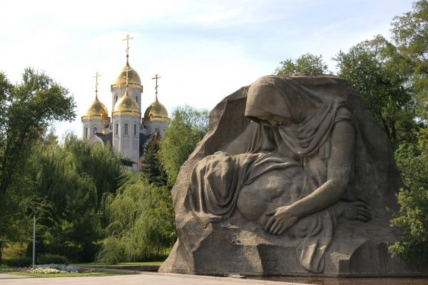 Russia, Volgograd (Zaryzin, Stalingrad) - Battle of Stalingrad Memorial at Mamajev Kurgan Hill. The Memorial entited 'Grieving Mother' and the Memorial Cathedral. Date: 2010