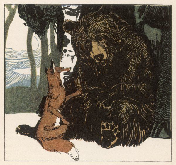 A scene from the story showing a fox in conversation with the bear