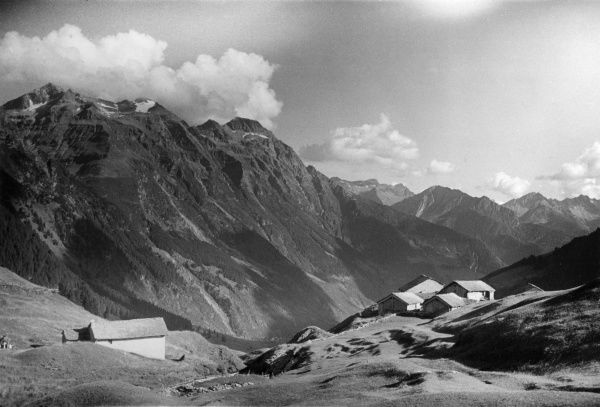 The valley above Mesocco, from San Bernardino, the Grisons, Switzerland. Date: 1930s
