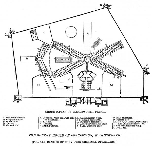 Ground plan of Surrey Prison and House of Correction, Wandsworth Date: 1862