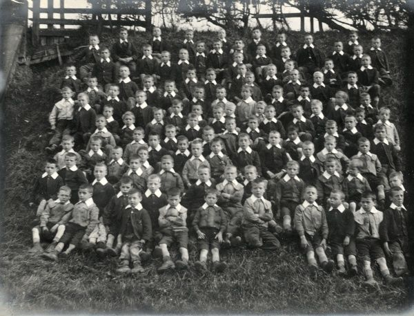 A large group of boys at the Walsall and West Bromwich District School on Pennyhill Lane, Wigmore