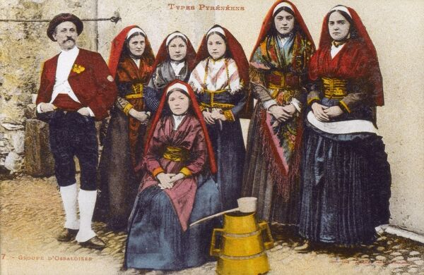 Group of people from the Val d'Ossau, France in traditional costume. Date: circa 1910s