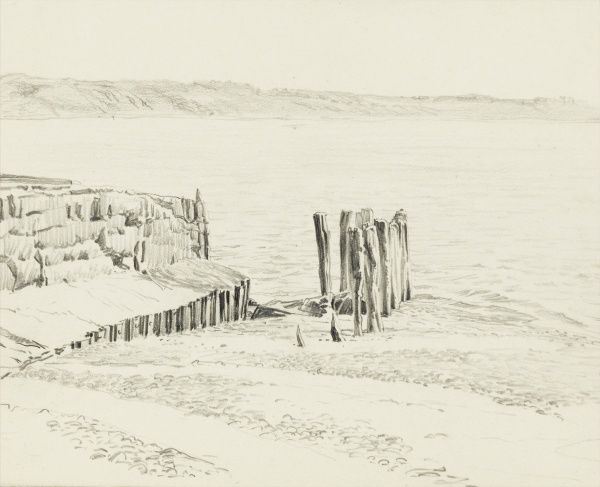 Partially washed-away old groynes on the seashore. Pencil sketch by Raymond Sheppard