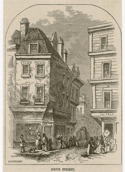 Grub Street, near Moorfields, described by Dr. Johnson as 'much inhabited by writers of small histories, dictionaries and temporary poems'. It was named Milton Street in 1830