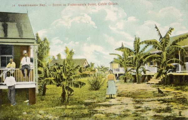 The Cable Office on a street in Fisherman's Bay - Guantanamo Bay, Cuba. The United States assumed territorial control over Guantanamo Bay under the 1903 Cuban-American Treaty, which granted the United States a perpetual lease of the area