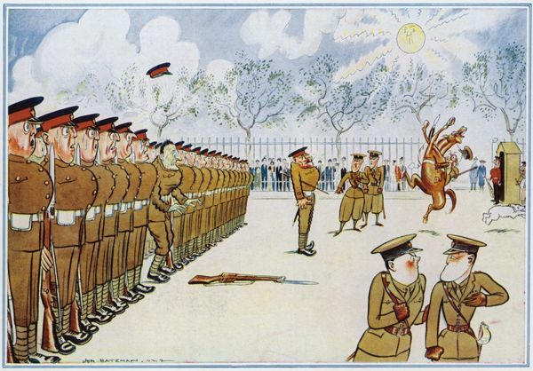 A humorous illustration showing a terrified guardsman who has dropped his rifle