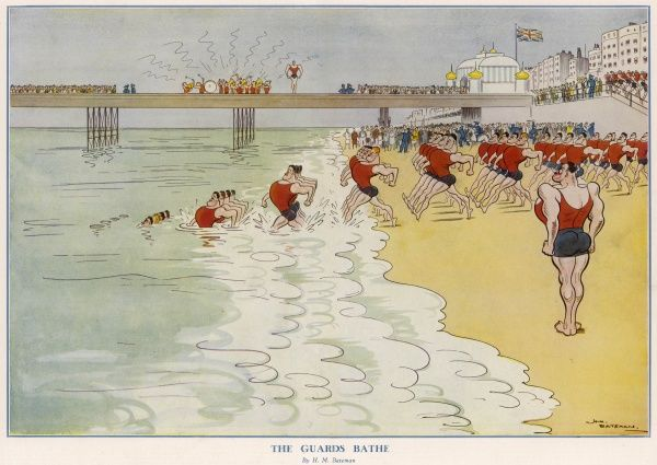 Fabulous illustration showing identikit guardsmen striding in uniform rows down the beach and into the sea, not pausing to stop as they become submerged in the water