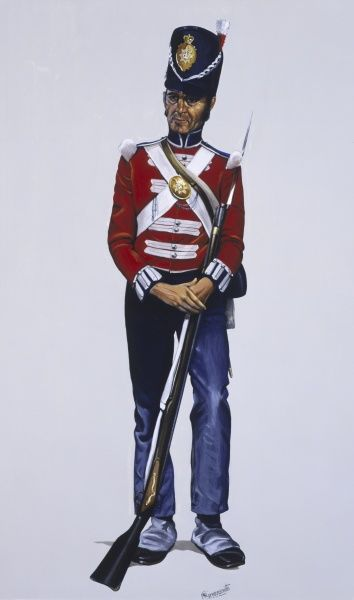 A Guardsman (Private) of The Coldstream Guards - 2nd Foot Guards. Interestingly, the 1st Foot Guards - The Grenadier Guards - were formed AFTER The Coldstream Guards and they do not accpet their status (the 2nd Foot Guards) and this title is seldom used