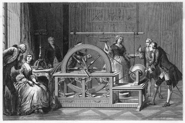 Otto von Guericke demonstrates his electric machine, producing static electricity from a globe when rubbed