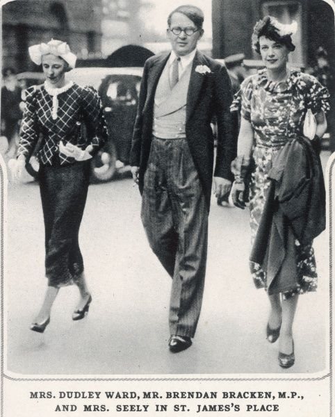 Mrs. Freda Dudley Ward(1894-1983), Brendan Bracken(1901-1958) and Mrs. Jim Seely on the occasion of the marriage of Patricia Berry to Roger Chetwode. The trio are seen here at St. James' Place, en route to the reception