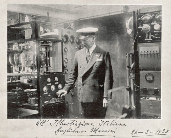 GUGLIELMO MARCONI Italian physicist and inventor in yachting attire and with communications apparatus